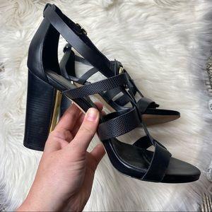White House Black Market gold black Bria Heels